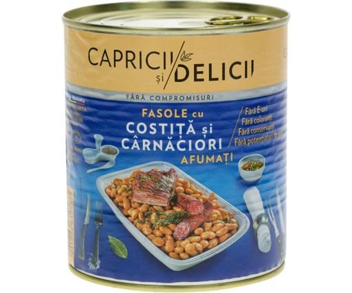 Imagine Fasole cu carnaciori afumati Capricii si Delicii 800g