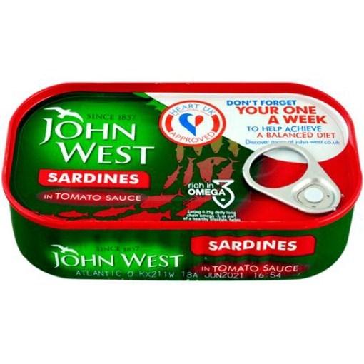 Imagine Sardine in sos de rosii John West 120 gr