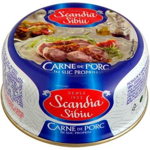 Imagine Scandia Sibiu Carne Porc in Suc Propriu 300 gr