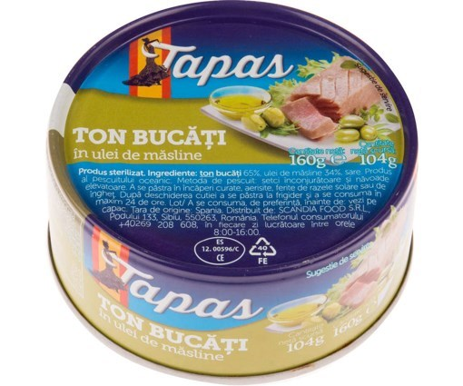 Imagine Tapas Ton in ulei de masline 160 gr