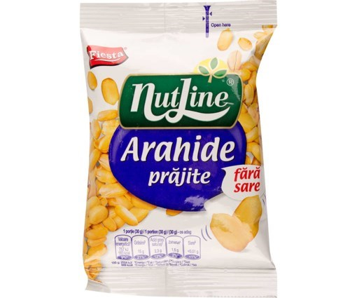 Imagine Nutline arahide prajite fara sare 130 gr.