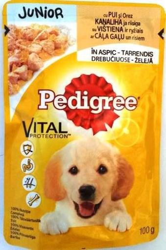 Imagine Pedigree Junior plic Pui si Orez, 100 gr.