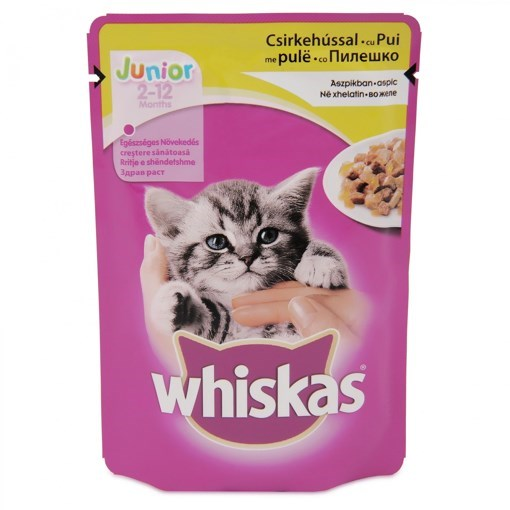 Imagine Whiskas Junior plic Pui, 100 gr.