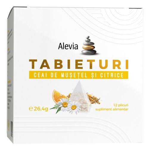Imagine Alevia - Tabieturi Ceai musetel si citrice 12 plicuri