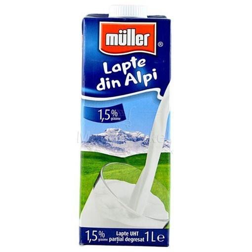 Imagine UHT 1,5% Muller Lapte din Alpi 1L
