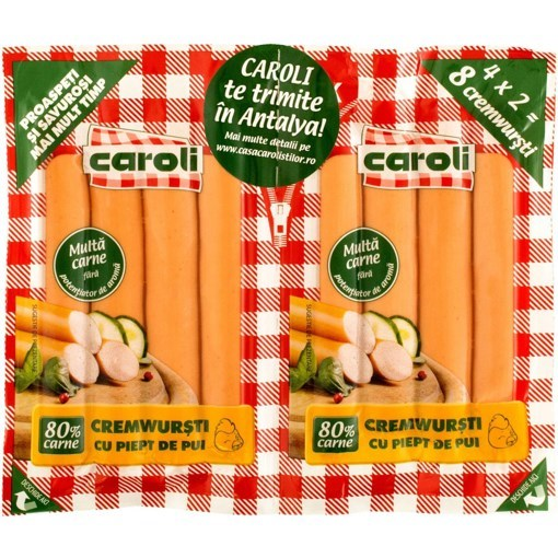Imagine Cremwursti Caroli, Pui, 80% Carne, 140 gr. x 2