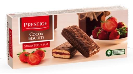 Imagine Biscuiti glazurati cu  gem capsuni Prestige 216 g