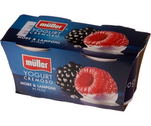 Imagine Muller Bipack Iaurt cu Bucati de Mure-Zmeura 2x125 grame
