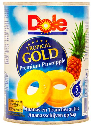 Imagine Felii de Ananas in suc Tropical Gold Dole 432 gr.