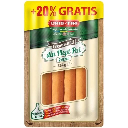 Imagine Cremwursti cu piept de pui Cris-Tim, 324g (270 g + 20%)