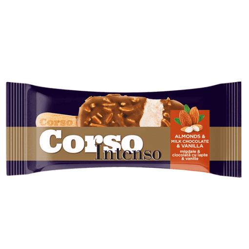 Imagine Inghetata cu aroma de vanilie in glazura de ciocolata cu lapte si bucati de migdale Corso 110 ml
