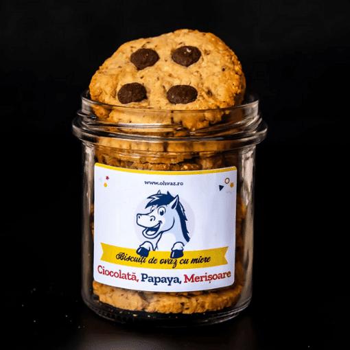 Imagine Biscuiti cu Ciocolata, Papaya, Merisoare Ohvaz,  160g, borcan cu 9 biscuiti