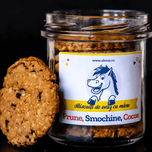 Imagine Biscuiti cu Prune, Cocos, Smochine Ohvaz, 170g, borcan cu 9 biscuiti