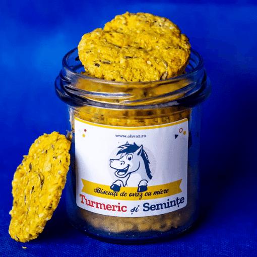 Imagine Biscuiti  sarati Turmeric si Seminte Ohvaz, 170g, borcan cu 9 biscuiti