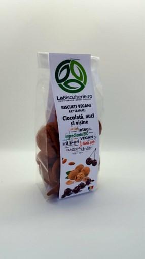 Imagine Biscuiti Vegani cu Ciocolata,Nuci si Visine 140g