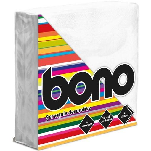 Imagine Bono Servetele de masa 33x33, albe, 50 buc.