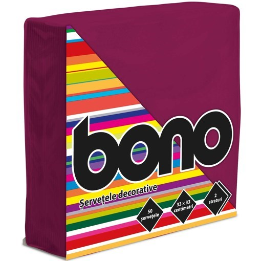 Imagine Bono Servetele de masa 33x33, bordo, 50 buc.